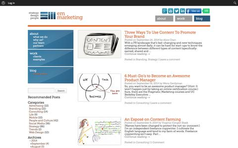 Screenshot of Blog e-m-marketing.com - Blog | EM Marketing, Inc. - captured Sept. 26, 2014