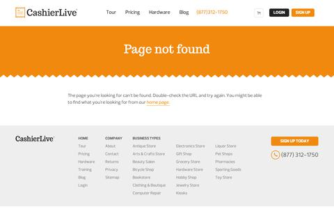 Screenshot of Privacy Page cashierlive.com - Page Not Found - captured Dec. 12, 2018