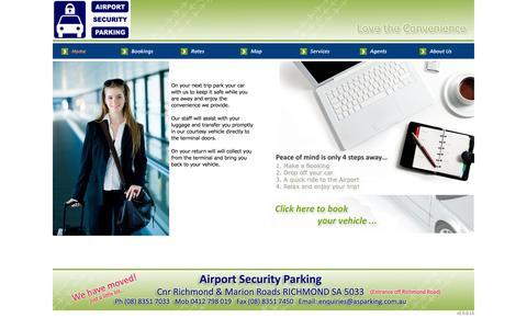 Screenshot of Home Page asparking.com.au - Airport Security Parking - Home - captured Oct. 4, 2014