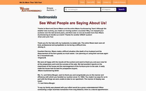 Screenshot of Testimonials Page wearsauctioneering.com - Wears Auctioneering Inc. - We Do More Than Talk Fast - captured Dec. 11, 2016