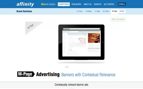 Screenshot of Team Page affinity.com - M-Page Brand Advertising - Mobile  Banners On Contextual Steroids   Affinity - captured Nov. 12, 2019