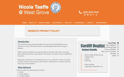 Screenshot of Privacy Page nicolataaffe.co.uk - Website Privacy Policy - captured Oct. 19, 2018