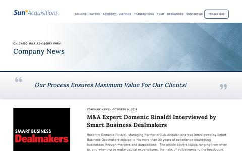 Screenshot of Press Page sunacquisitions.com - Company News - Sun Acquisitions | Chicago Business Broker and M&A Firm - captured Oct. 20, 2019
