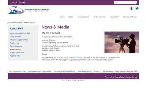 Screenshot of Press Page flyphf.com - Media Contact   Newport News/Williamsburg Int'l Airport - captured Oct. 21, 2017