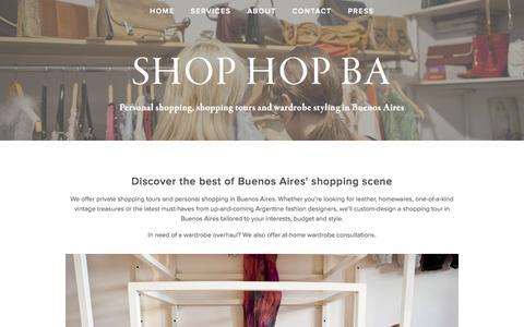 Screenshot of Home Page shop-buenosaires.com - Shop Hop BA - captured Sept. 16, 2015