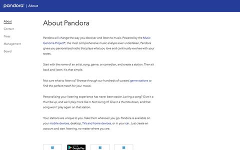 Screenshot of About Page pandora.com - Pandora - About Pandora - captured Feb. 3, 2017