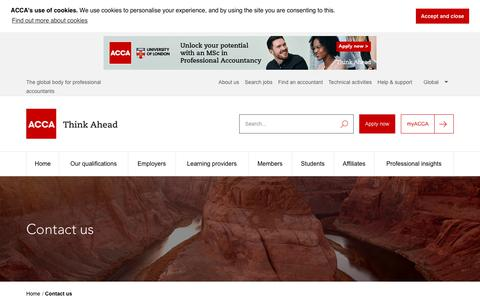 Screenshot of Contact Page accaglobal.com - Contact us | ACCA | ACCA Global - captured June 11, 2019