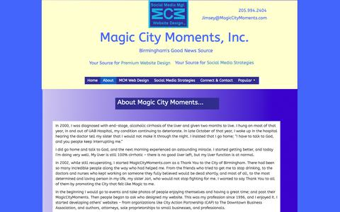 Screenshot of About Page magiccitymoments.com - About - captured Oct. 2, 2018
