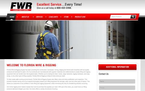 Screenshot of Home Page floridawire.com - Rigging Equipment | Lifting Supplies | Slings | Hoists - captured Sept. 11, 2015