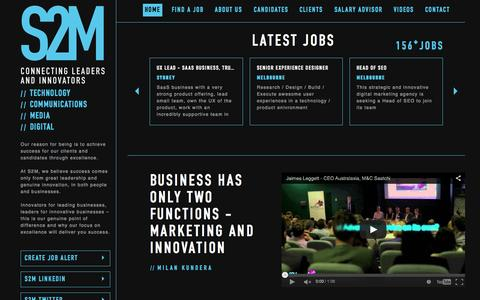 Screenshot of Home Page s2m.com.au - Digital Jobs | Digital Media Jobs | Media Sales Recruitment | Media Sales Jobs | Media Sales Recruitment  - S2M - Digital Recruitment Agency Jobs Australia - Sydney | Melbourne | Brisbane - captured Sept. 17, 2015