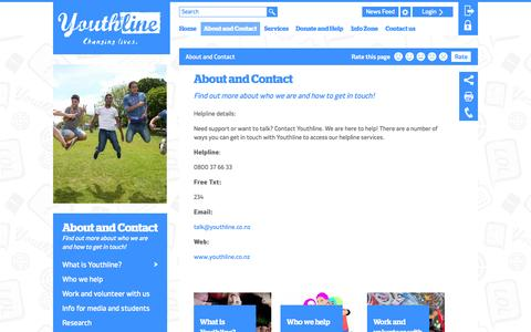 Screenshot of About Page youthline.co.nz - About and Contact » Youthline - captured Oct. 1, 2014