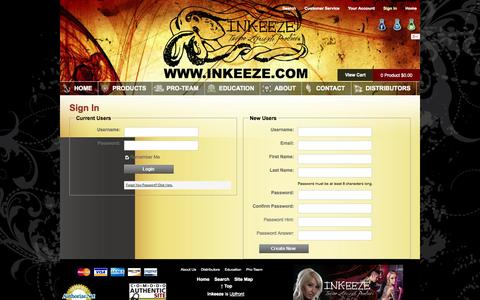 Screenshot of Login Page inkeeze.com - Sign In - Inkeeze - Tattoo Lifestyle Products - Tattoo Pain Relief, Tattoo Healing, and Tattoo Aftercare - captured Sept. 23, 2014