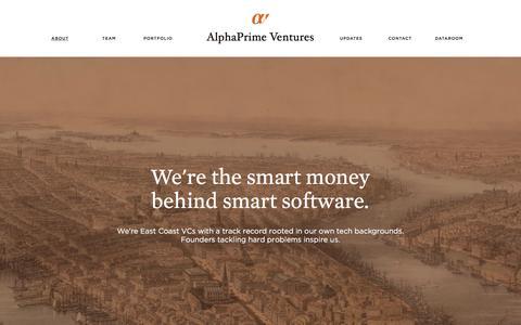 Screenshot of Home Page alphaprime.com - AlphaPrime Ventures - captured Feb. 5, 2016