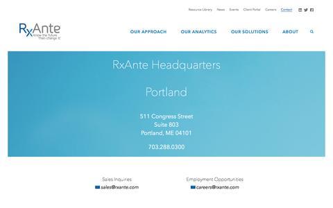 Screenshot of Contact Page rxante.com - RxAnte  |  Contact - captured Dec. 6, 2016