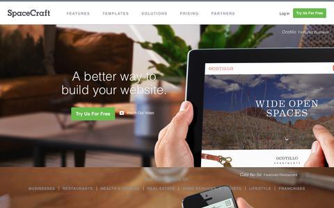 Screenshot of Home Page gospacecraft.com - Build a Website - Build a Website - captured April 8, 2019