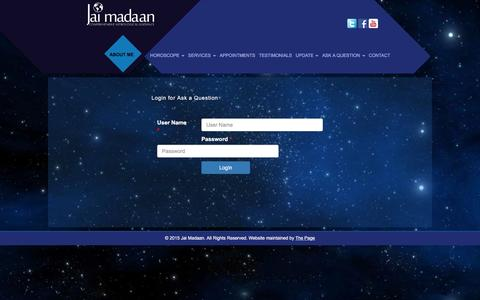 Screenshot of Login Page jaimadaan.com - Appointment Jai Madaan | Relationship Expert | Vastu Expert | Renowned Astrologer | Jaimadaan - captured Jan. 9, 2016