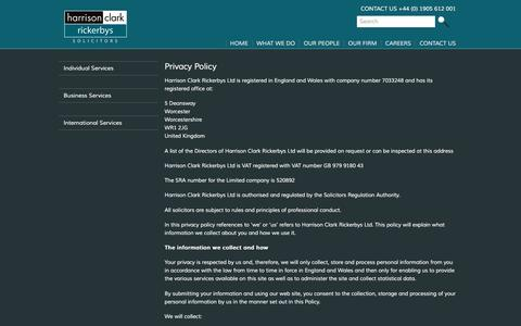 Screenshot of Privacy Page hcrlaw.com - Privacy Policy - Harrison Clark Rickerbys - captured Oct. 27, 2016