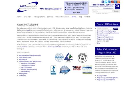 Screenshot of About Page matsolutions.com - Delivering Assurance Across the Test Equipment Lifecycle | MATSolutions, Irving TX - captured Sept. 30, 2014