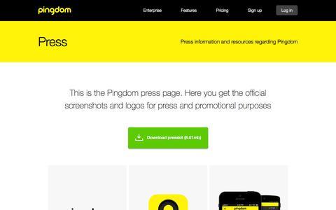 Screenshot of Press Page pingdom.com - Pingdom - Press - captured Sept. 19, 2014