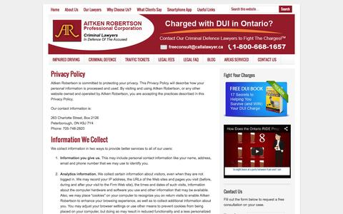 Screenshot of Privacy Page fightthecharges.com - Privacy Policy - Fight the Charges - captured Oct. 4, 2014