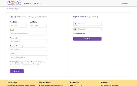 Screenshot of Signup Page cheersbye.com - Signup - captured Oct. 1, 2014