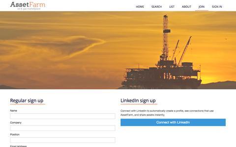 Screenshot of Signup Page assetfarm.com.au - AssetFarm | Join AssetFarm - captured Sept. 30, 2014