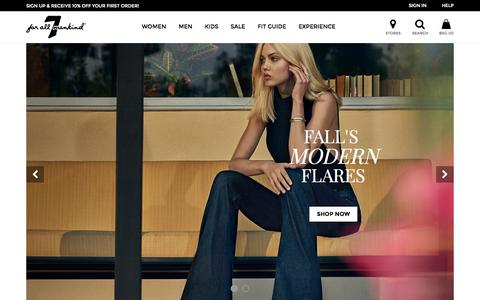 Screenshot of Home Page 7forallmankind.com - 7FORALLMANKIND Official Store - captured Oct. 1, 2015