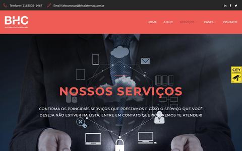 Screenshot of Services Page bhcsistemas.com.br - Services - BHC Sistemas de Segurança - captured Nov. 9, 2018