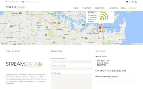 Screenshot of Contact Page streamdata.com.au - Contact Us | Stream Data Solutions - captured Nov. 9, 2017