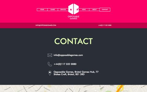 Screenshot of Contact Page opposablegames.com - Opposable Games: Contact - captured Nov. 12, 2015