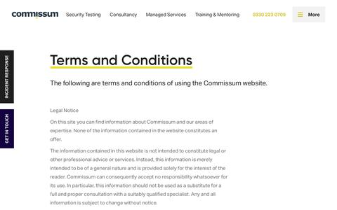 Screenshot of Terms Page commissum.com - Commissum Cybersecurity | Expert Penetration Testing, Information Security Consulting and Managed Security - captured July 24, 2018