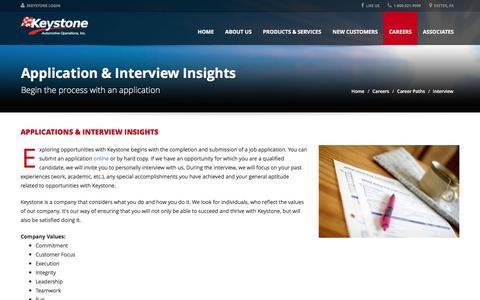 Screenshot of keystoneautomotive.com - Application & Interview Insights - Keystone Automotive Operations Inc. - captured Aug. 30, 2016