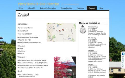 Screenshot of Contact Page providencezen.org - Contact   Providence Zen Center - captured Oct. 3, 2014