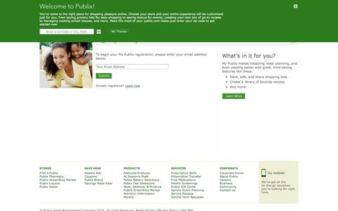 Screenshot of Signup Page publix.com - My Publix - Login - captured Sept. 18, 2014