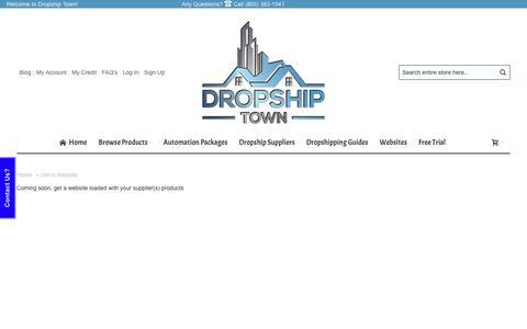 Screenshot of Trial Page dropshiptown.com - Get a Website - captured Nov. 3, 2018