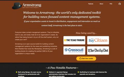 Screenshot of Home Page armstrongcms.org - Armstrong - Open Source News Platform - captured Sept. 30, 2015