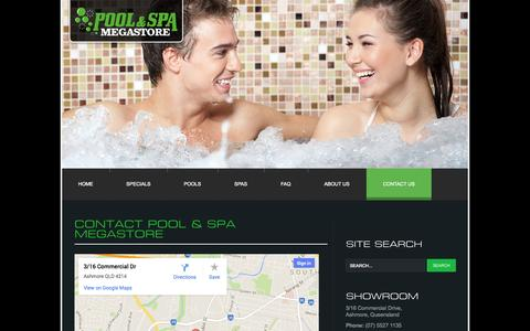 Screenshot of Contact Page poolandspamegastore.com.au - Contact Us - captured Sept. 30, 2014