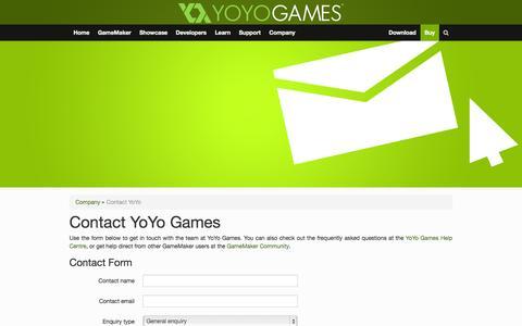 Screenshot of Contact Page yoyogames.com - Contact YoYo | Company | YoYo Games - captured Oct. 29, 2014