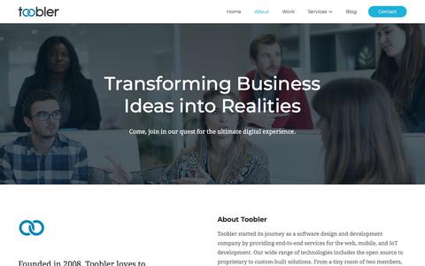 Screenshot of About Page toobler.com - Software Design and Development Company | IoT for startups and SMEs - captured Sept. 21, 2018