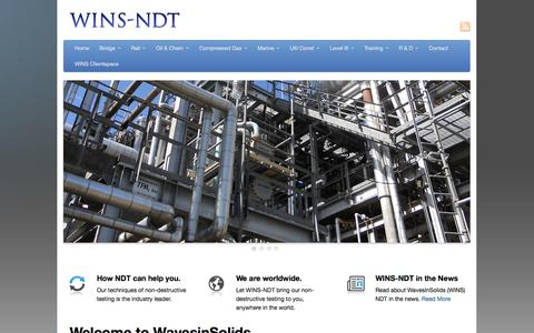Screenshot of Home Page wins-ndt.com - Welcome to WavesinSolids - WINS-NDT - captured Oct. 9, 2014