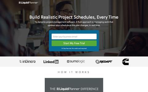 Screenshot of Landing Page liquidplanner.com - Dynamic Project Management Software | LiquidPlanner - captured Oct. 13, 2016
