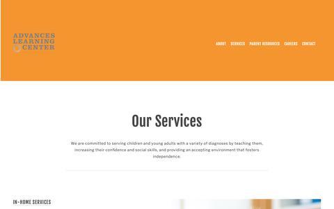 Screenshot of Services Page advancesonline.com - Our Services — Advances Learning Center - captured Oct. 3, 2018