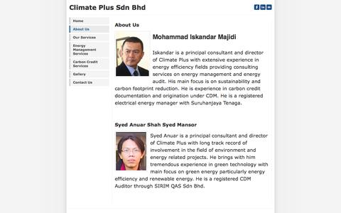 Screenshot of About Page weebly.com - About Us - Climate Plus Sdn Bhd - captured Sept. 17, 2014