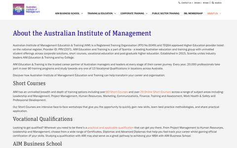 Screenshot of About Page aim.com.au - About the Australian Institute of Management | AIM Education & Training - captured Oct. 27, 2017