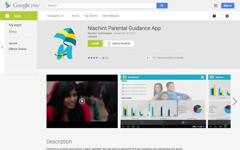 Screenshot of Android App Page google.com - Nischint Parental Guidance App - Android Apps on Google Play - captured Oct. 26, 2014