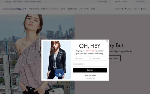 Screenshot of Home Page rebeccaminkoff.com - Rebecca Minkoff Online Store: Handbags, Clothing, Shoes, & Accessories  | Rebecca Minkoff - captured July 13, 2016