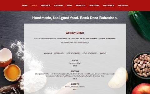 Screenshot of Menu Page backdoorbakeshop.com - Weekly Menu — Handmade, feel-good food. Back Door Bakeshop. - captured March 5, 2016