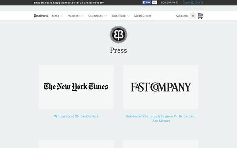 Screenshot of Press Page betabrand.com - Press - captured July 20, 2014