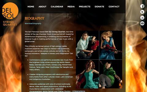 Screenshot of About Page delsolquartet.com - Biography «  Del Sol String Quartet - captured Oct. 5, 2014
