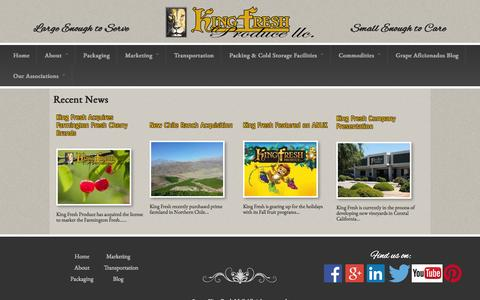 Screenshot of Press Page kingfresh.com - Recent News   King Fresh LLC - captured Oct. 8, 2014